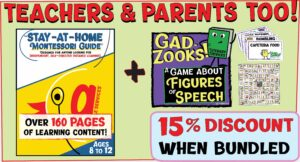Language game GadZooks! and Montessori Elementary Guide Grumble BUNDLE: Save 15% when bundled!