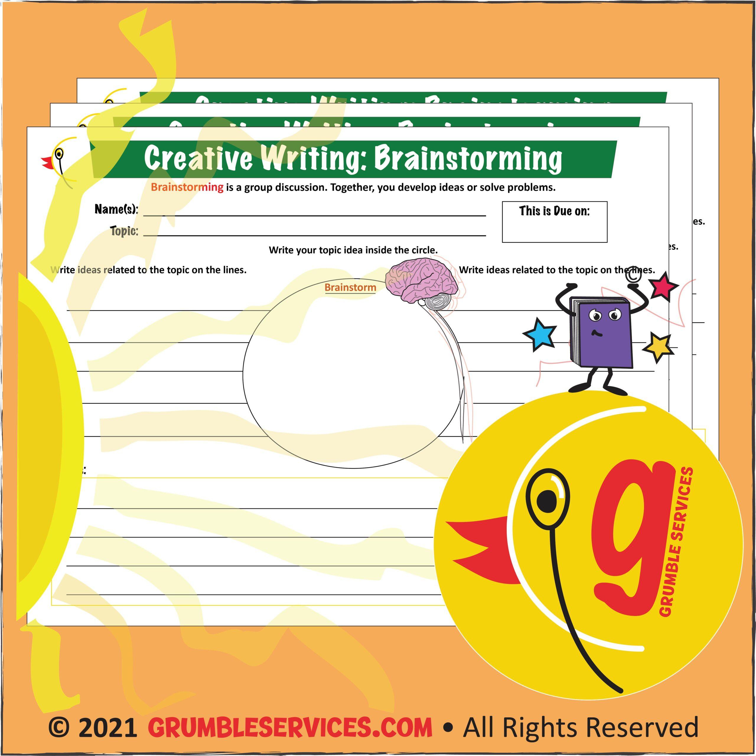 Montessori Blog - Brainstorming Graphic Organizer Elementary Montessori Creative Writing Worksheet Grumble Services Learning Resource