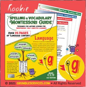 Montessori-inspired Spelling & Vocabulary Guide: Elementary Word Study PDF Workbook! Distance Learning Resources • Grumble Services LLC • Montessori-inspired Elementary Learning