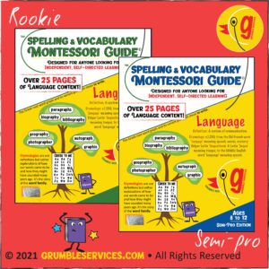 Montessori Spelling & Vocabulary Guide BUNDLE: Etymology WORD STUDY - Elementary Montessori language help printable Workbooks (50 + key)